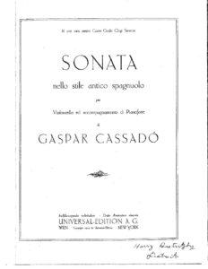 cp - Cassado G. - Sonata nello stile antico spagnuolo (Universal)