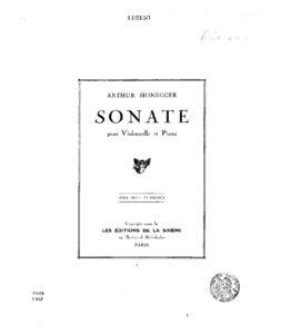 cp - Honegger A. - Sonata for Cello and Piano