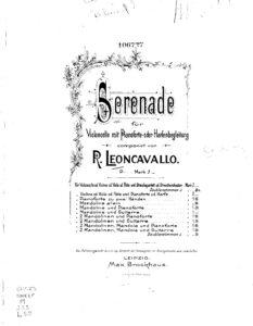 cp - Leoncavallo R. - Serenade for Cello and Piano or Harp (1898)