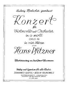 cp - Pfitzner H. - Cello Concerto Op.52