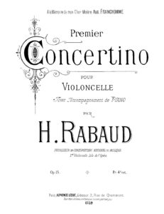 cp - Rabaud H. - Cello Concertino No.1 Op.15