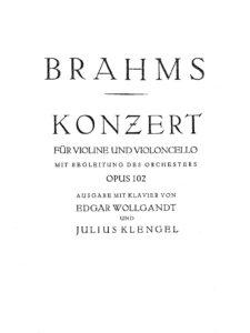 e - Brahms J. - Double Concerto Op. 102 (Wollgandt, Klengel)
