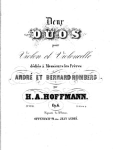 e - Hoffmann H. - 2 Duos for Violin and Cello Op.6 (parts only)