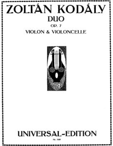e - Kodaly Z. - Duo Op.7 for Violin and Cello (1922)