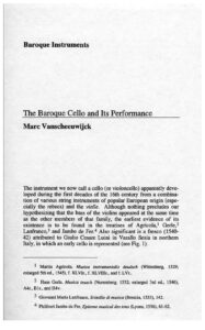t - Vanscheeuwijck M. - The Baroque Cello and Its Performance