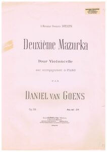 Goens D. - Mazurka No.2 for Cello and Piano Op.20