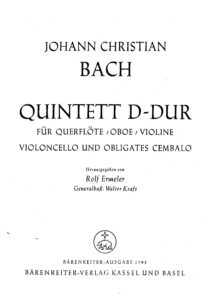Bach J.C. - Quintet for piano, flute, oboe, violin and cello, op.221