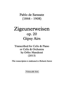 Sarasate P. - Zigeunerweisen for Cello Solo (Richard Aaron)