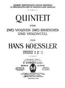Koessler H. - String quintet d-moll