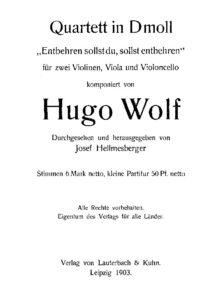 Wolf H. - String quartet d-moll