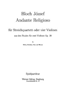 Bloch J. - Andante Religioso for String Quartet