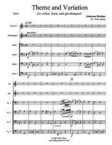 Brahms J. - Theme and Variation for 4 Cellos, Glockenspiel and Horn (arr. Halsey N.)