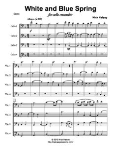 Halsey N. - White and Blue Spring for Cello Quartet