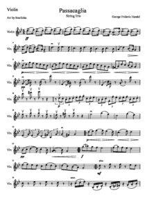 Handel G.F. - Passacaglia for String Trio Violin, Viola and Cello