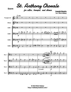 Haydn J. - St. Anthony Chorale for Cello Quartet, Chimes and Trumpet (arr. Halsey N.)