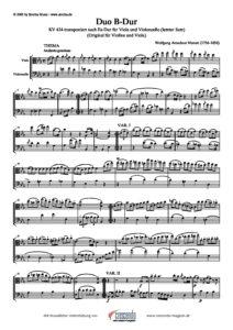 Mozart W.A. - Duo B-dur 3 movement for Violin and Viola. Transcription for Viola and Cello