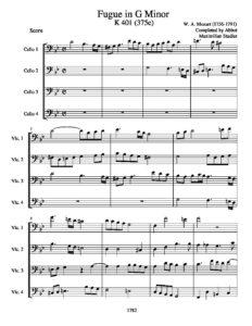 Mozart W.A. - Fugue in G Minor K.401 for Cello Quartet (arr. Stadler M.)