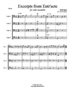 Satie E. - Excerpts from Entr'acte for Cello Quartet (arr. Halsey N.)