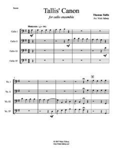 Tallis T. - Tallis' Canon for Cello Quuartet (arr. Halsey N.)