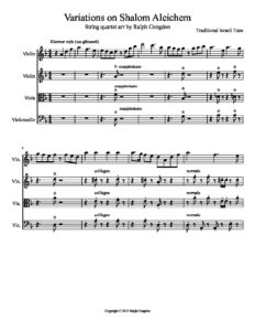 Traditional - Variations on Shalom Aleichem for String Quartet