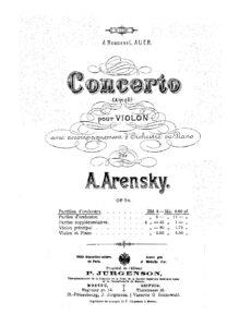 Arensky A. - Violin Concerto Op.54 Score