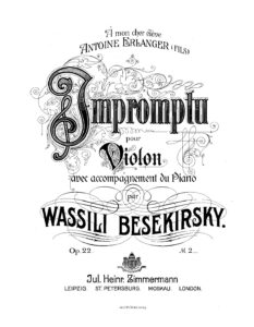 Besekirsky W. - Impromptu for Violin and Piano Op.22