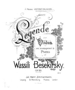 Besekirsky W. - Legende for Violin and Piano Op. 20