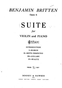 Britten B. - Suite for Violin and Piano Op.6