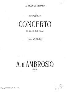 d'Ambrosio A. - Concerto №2 for Violin and Orchestra Op.51