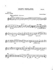Elgar E. - Canto Popolare for Violin and Piano