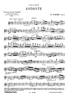 Faure G. - Andante Op.75 for Violin and Piano