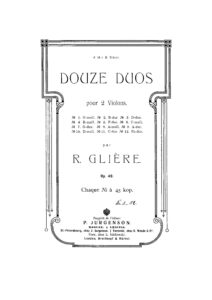 Gliere R. - 12 Duets for Two Violins