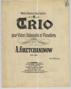 Grechaninov A. – Piano Trio Op.38 All Parts