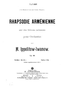 Ippolitov-Ivanov M. - Armenian Rhapsody on National Themes Op.48 Score