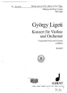 Ligeti G. - Concerto for Violin and Orchestra Score
