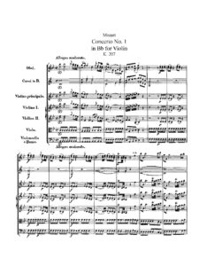 Mozart W.A. - Concerto for Violin №1 B-dur K.207 Score