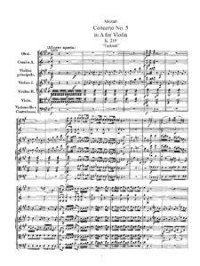Mozart W.A. - Concerto for Violin №5 A-dur K.219 Score
