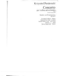 Penderecki K. - Concerto №1 for Violin and Orchestra Score