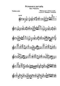 Piazzolla A. - Primavera Portena for Violin with Chamber Orchestra Score