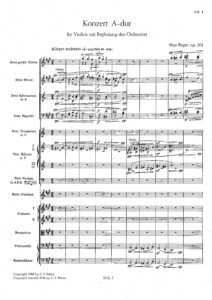 Reger M. - Concerto for Violin and Orchestra Op.101 Score