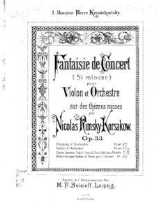 Rimsky-Korsakov N. - Concert Fantasy on Russian Themes for Violin and Orchestra Op.33 V.2