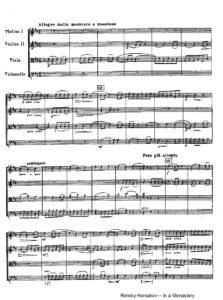 Rimsky-Korsakov N. - In the Monastery for the String Quartet