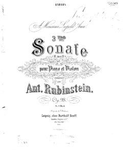 Rubinstein A. - Sonata №3 for Violin and Piano Op.98