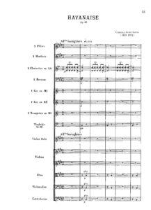 Saint-Saens C. - Havanaise for Violin and Orchestra Score
