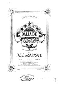 Sarasate P. - Ballad Op.31 for Violin and Piano