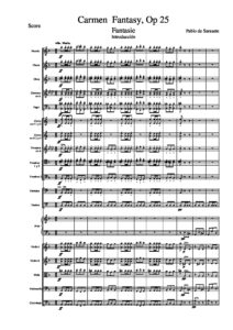 Sarasate P. - Carmen Concert Fantasy Op.25 for Violin and Orchestra Score