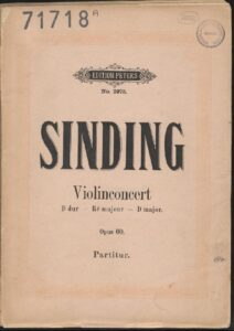 Sinding C. - Concerto №2 Op.60 for Violin and Orchestra Score