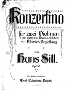 Sitt H. - Concertino for Two Violins and Piano Op.133
