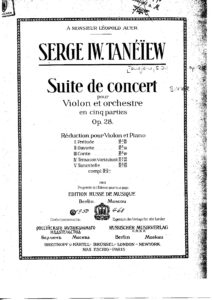Taneev S. - Suite de Concert for Violin and Orchestra Op. 28