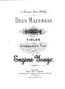 Ysaye E. - 2 Salon Mazurkas for Violin and Piano Op.10